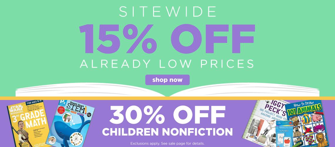15% off sitewide + 30% off children nonfiction