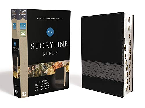 NIV Comfort Print Storyline Bible (Thumb Index, Black Leathersoft)