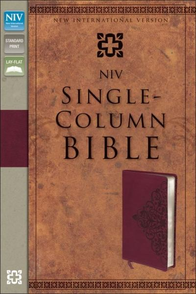 NIV Single-Column Bible (NIV, Cranberry Italian Duo-Tone)