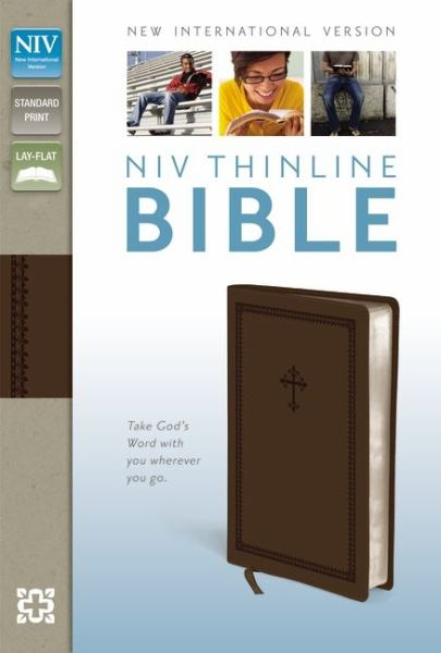 NIV Thinline Bible (NIV, Chocolate Italian Duo-Tone,  Silver-Gilded Pages)