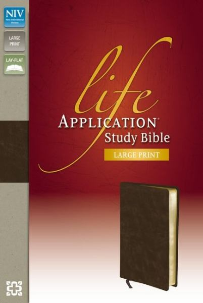 Large Print Life Application Study Bible (NIV, Distressed Brown Bonded Leather, Gilded-Gold Page Edges)