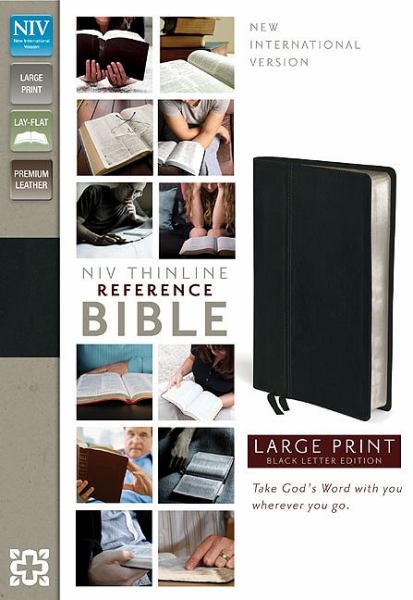 NIV Thinline Reference Bible (Large Print, NIV, Ebony Premium Leather, Gilded-Silver Page Edges)