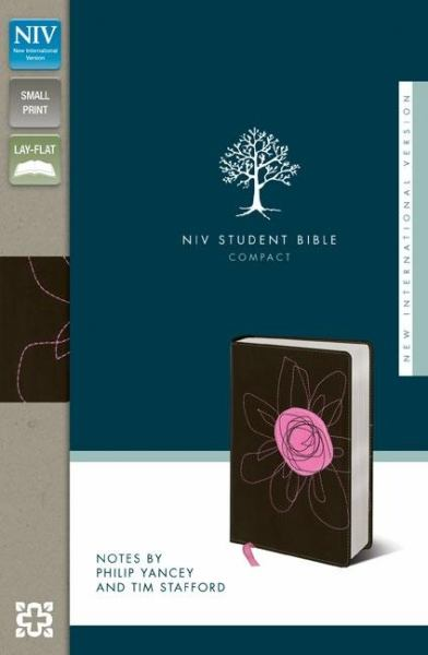 Compact NIV Student Bible (Espresso/Pink Flower Italian Duo-Tone, Gilded-Silver Page Edges)