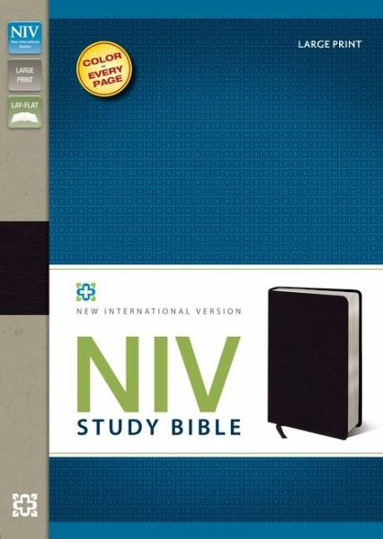 NIV Study Bible (Large Print,  Black Bonded Leather, Gilded-Silver Page Edges)