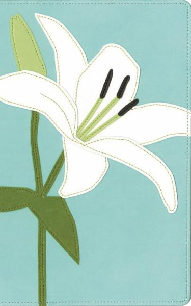 Thinline Bloom Collection Bible, (KJV, White Lily Italian Duo-Tone, Gilded-Silver Page Edges)