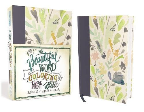 NIV Beautiful Word Large Print Coloring Bible (Cloth over Board, Navy/Floral Pattern)