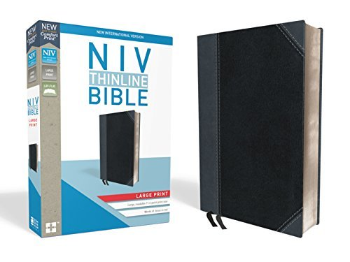 NIV Thinline Bible (Large Print, Black/Gray Leathersoft)