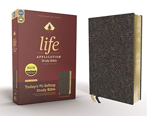NIV Life Application Study Bible (Navy Floral/Bonded Leather, 3rd Edition)