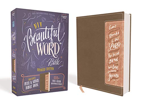 NIV Beautiful Word Bible (Updated Edition, Brown/Blush Leathersoft)