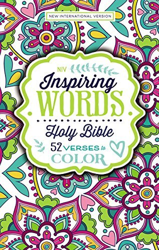 NIV Inspiring Words Holy Bible: 52 Verses to Color