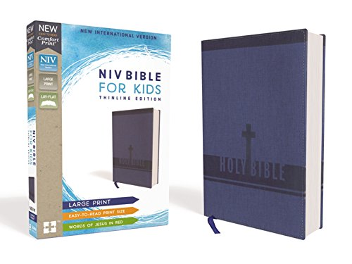 NIV Large Print, Thinline Bible For KIds (Blue Leathersoft)