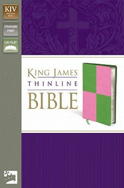 King James Thinline Bible (KJV, Text, Meadow Green/Pink Italian Duo-Tone)