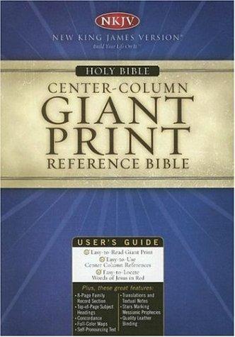 Giant Print Center-Column Reference Bible (NKJV, 994BG, Burgundy Bonded Leather)