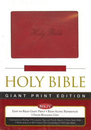 Giant Print Bible (NKJV,  712989- Ruby Leathersoft, Velva-Silver Page Edges)