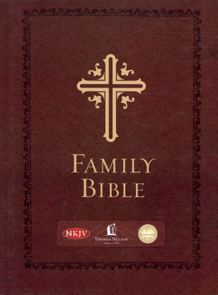 Family Bible (NKJV, 28640SAMS,  Burgundy Leathersoft Hardcover, Velva-Gold Page Edges)