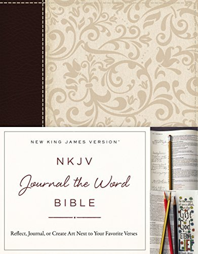 NKJV Journal the Word Bible (Brown/Cream Linen Leathersoft)