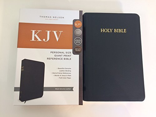 KJV Personal Size, Giant Print Reference Bible (#0547BKCRS Black Genuine Leather)