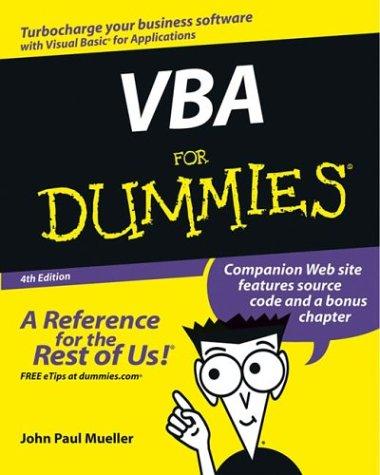 VBA For Dummies (4th Edition)