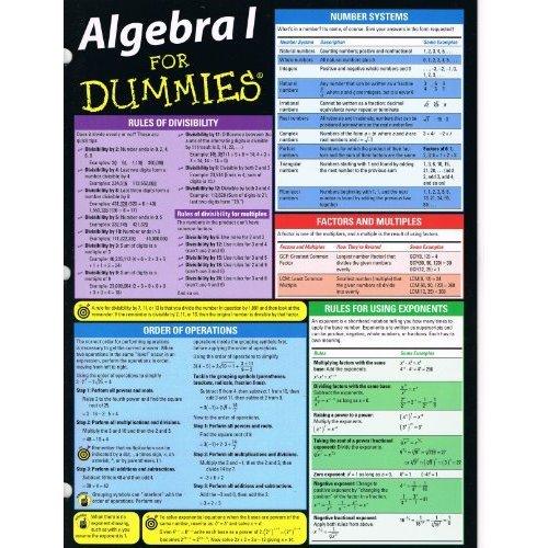 Algebra I for Dummies (Deluxe Cheat Sheet)