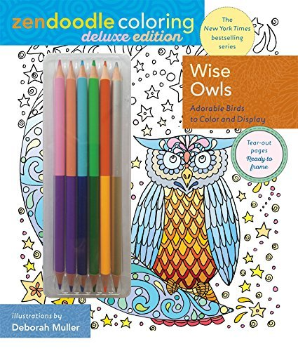 zendoodle coloring wise owls deluxe edition with pencils