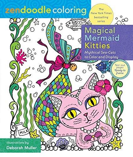 Magical Mermaid Kitties Zendoodle Coloring Book