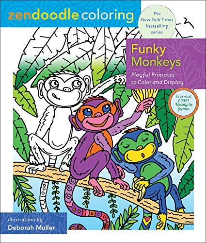 Funky Monkeys Zendoodle Coloring