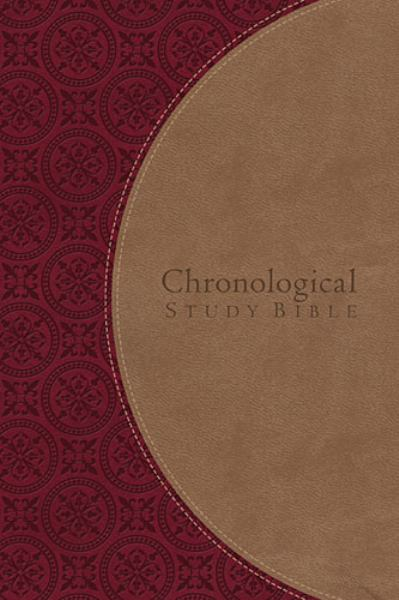 NKJV, The Chronological Study Bible, Imitation Leather, Burgundy/Tan (Signature)