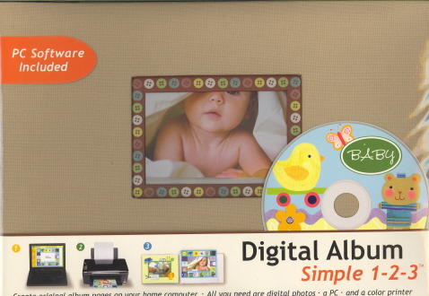 Digital Album Simple 1-2-3 PC Software Included:Brown with Tiny Buttons Around Frame