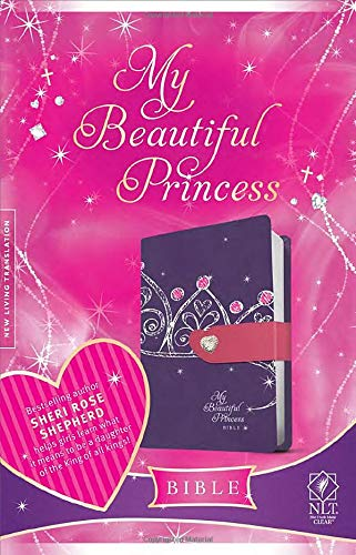 My Beautiful Princess Bible NLT (TuTone Purple Crown/Pink Imitation Leather)