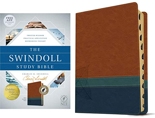 NLT Swindoll Study Bible (Thumb Indexed, Brown, Teal & Blue Imitation Leather)