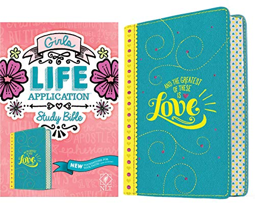 NLT Girls Life Application Study Bible (Yellow/Teal Love Imitation Leather)
