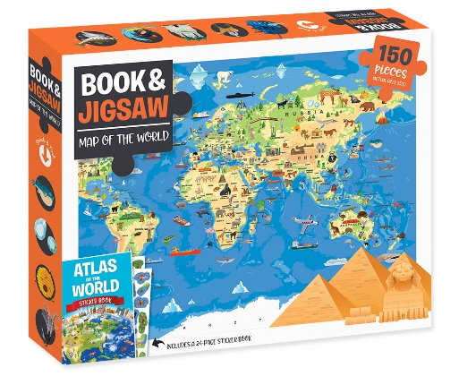 Map of the World: 150 Piece Book & Jigsaw Puzzle
