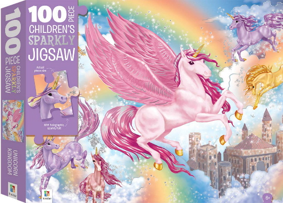 Unicorn Kingdom: 100 Piece Children's Sparkly Jigsaw Puzzle