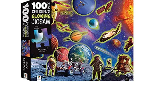 Space Explorers: 100 Piece Children's Glowing Jigsaw Puzzle