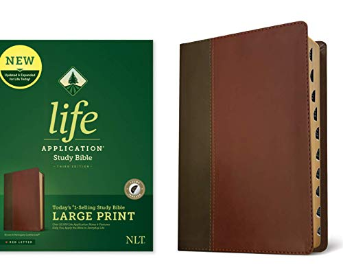 NLT Life Application Large Print Study Bible (Third Edition, XL Thumb Index - Brown & Mahogany Imitation Leather)
