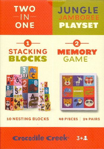 Two in One Jungle Jamboree Playset (Stacking Bocks/Memory Game)