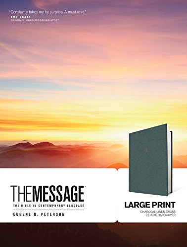 The Message Large Print Bible (Charcoal Linen Cross Deluxe Hardcovr)
