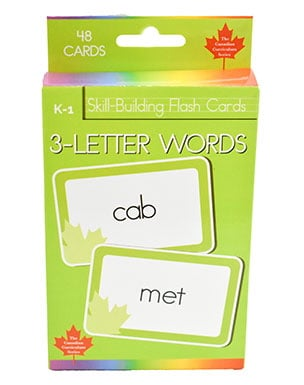 3-Letter Words Skill Building Flash Cards (Grade K-1, Canadian Curriculum Series)