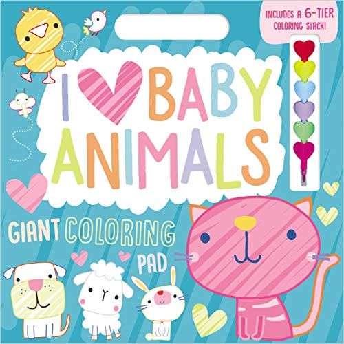 I Love Baby Animals Giant Coloring Pad (Includes A 6-Tier Coloring Stack)