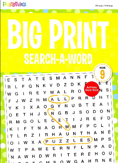 Big Print Search-A-Word: Vol. 9 (Puzzletivity)