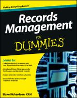 Records Management for Dummies 9781118388082