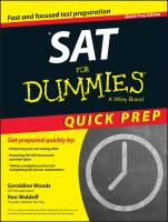 SAT for Dummies (Quick Prep Edition) 9781118911570